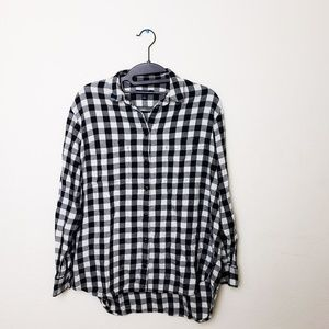 Madewell Black White Checkered Button Up Shirt